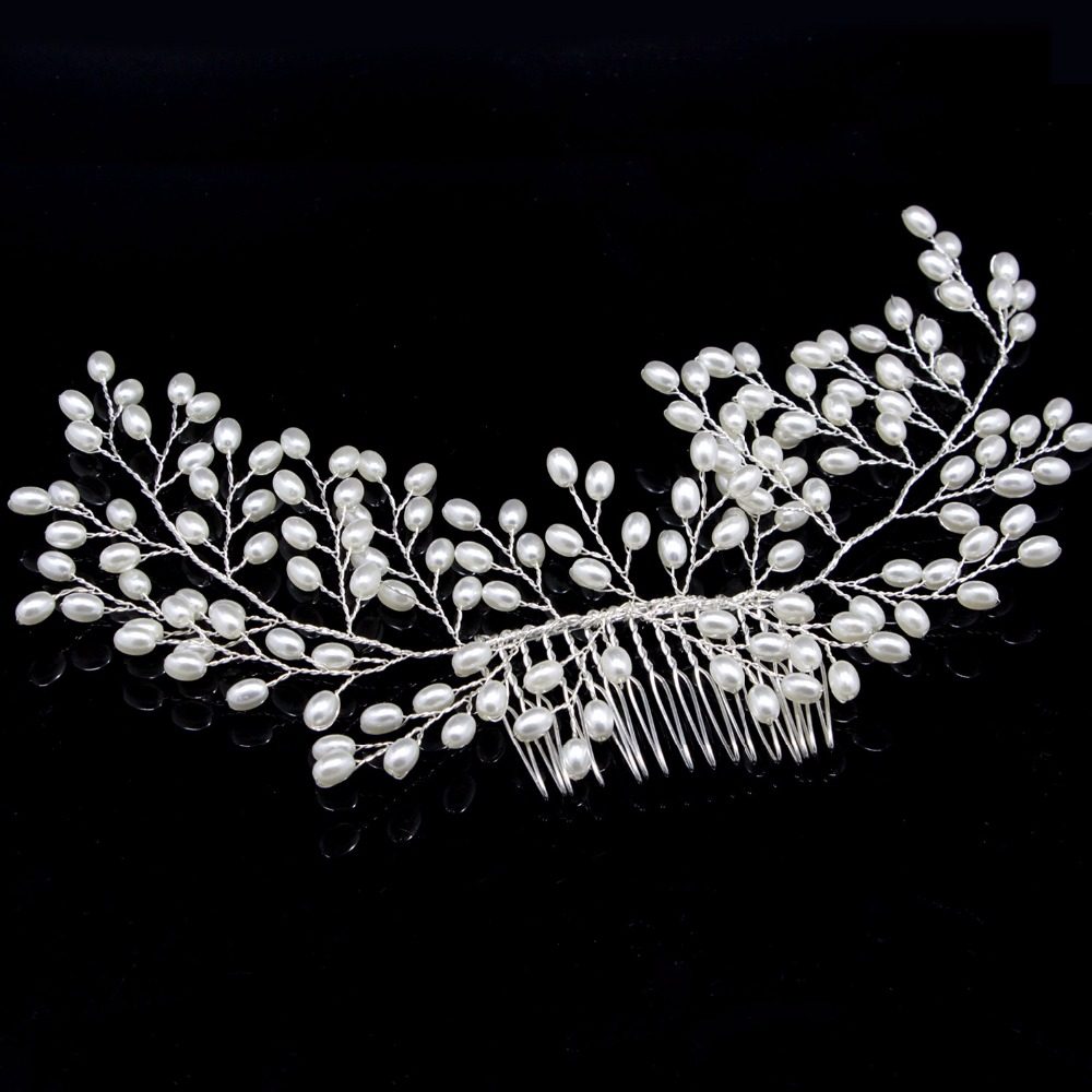 2018 New Luxurious Bride Hair Accessories 100% Handmade Pearl Wedding Hair Jewelry Party Pom Bridal Starry Hair Comb Pearl Tiara 10