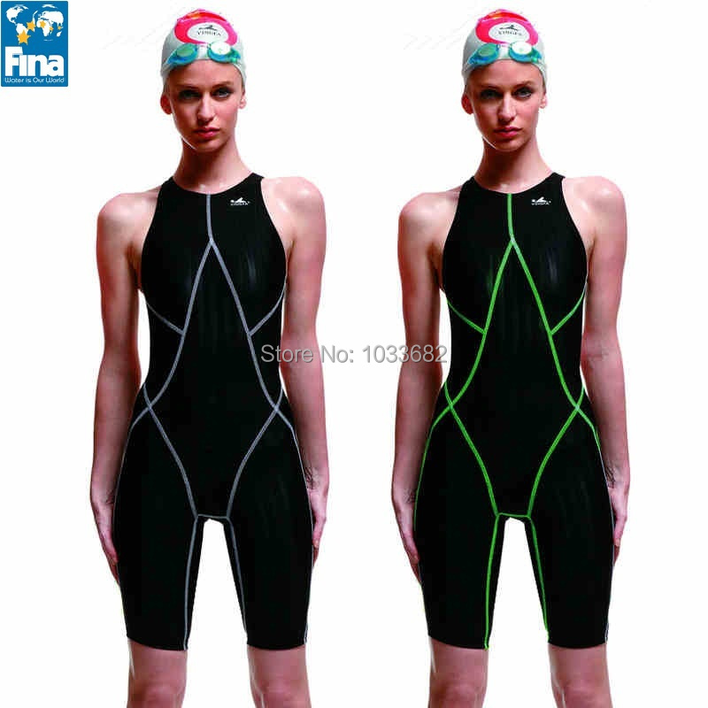 Yingfa FINA approved  one piece competition knee length waterproof chlorine resistant womens swimwear sharkskin swimsuit<br>