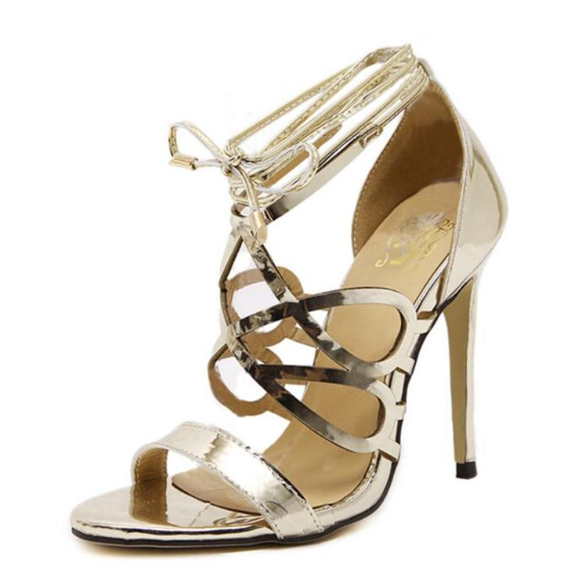 Jet Gold Silver Rome Gladiator High Heels Sandals Women Sexy Stiletto Pumps New Design Open Toe Lace Up Shoes Woman Sandalias<br><br>Aliexpress