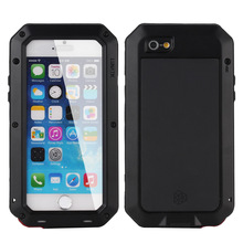 Waterproof dirtproof shockproof phone cases for iphone5 5s 6 6s 6p 6sp 7 7p 8 8p case Metal Silica gel Toughened glass tank case(China)