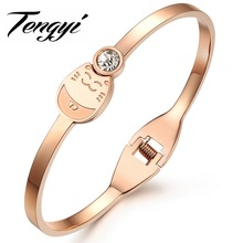 TENGYI Classic Top Brand Rose gold color Genuine Austrian Crystals Sample Sales Hello Kitty Bangle Bracelet Jewelry TY706(China)