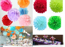 10cm=4 inch Tissue Paper Flowers pom poms balls lanterns Party Decor  For Wedding Decoration multi color option Wholesale