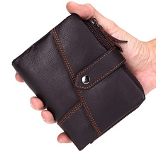 HOT High Quality Genuine Leather men's Wallet brand Retro Practical Cowhide Vintage male wallet Men card Purse coin bag