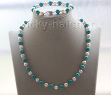 "Genuine 18"" 8"" round white pearls blue turquoise necklace bracelet set j9574"