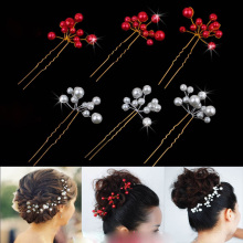 Wedding Bridal Bridesmaid Pearl Crystal Flower Headpiece Hair Pin Hairpin Hair Accesories