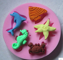 3D silicone fondant mold crab seahorse dolphin starfish shape cake decorating tools augar art CD-F511(China)