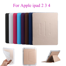 Flip Case For Apple ipad 2 ipad 3 ipad 4 Cases PU Leather Soft Silicon TPU Back Cover Tablet Stand Card Slots Shell housing