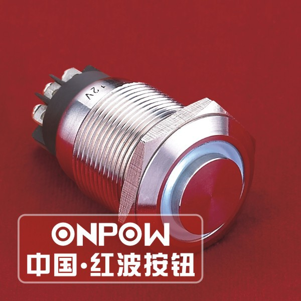 ONPOW 19mm High flat Momentary illuminated Waterproof Metal Push button switch (LAS1GQH-11E/L/B/12V/S) CE,VDE,ROHS<br><br>Aliexpress