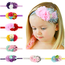 2017 Fashion Flower Headband Mix 4 Flower Pearl diamond Rose Flower hair band Elasticity Headbands hair Accessories H164(China)