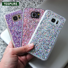 YESPURE Bling Gliter TPU Soft Telephone Accessory for Samsung Galaxy 7 Beautiful Pink Mobile Cover for Girls 5.1 Inch Phone Case