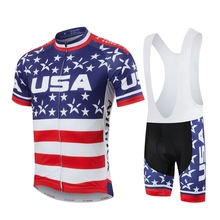 HOT Men MTB Cycling Clothing Summer bike Jersey Bib Shorts Red White Star Outdoor Sports Pro team ropa Bicycle Top wear