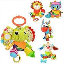 Free shipping Elephant Fox Lion Owl Monkey animals Stuffed plush toys Baby Stroller Rattle toys dolls with teether juguetes(China)