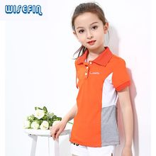 WISEFIN Baby girl T-shirts Short Sleeve Cotton POLO Shirt for girls t shirt Top Tee Turn-down Collar New Summer Sports Lapel(China)