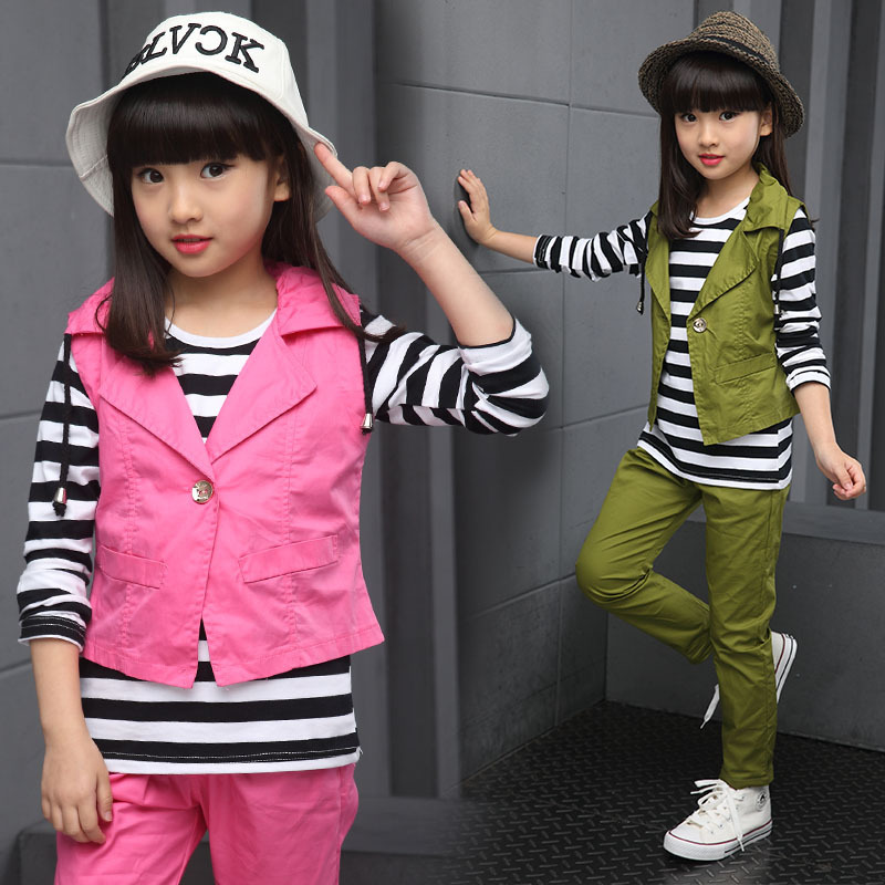 Kids Girl Spring Autumn Clothing Set Cotton Brand Children Clothing Casual Vest + T-Shirt + Pants 3Pcs Kids Tracksuits Clothes<br><br>Aliexpress