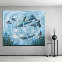 Wall Art, Wall Decor, Wall Painting A school of dolphins Digital oil Painting Print, Nice Painting for wall picture no frame(China)