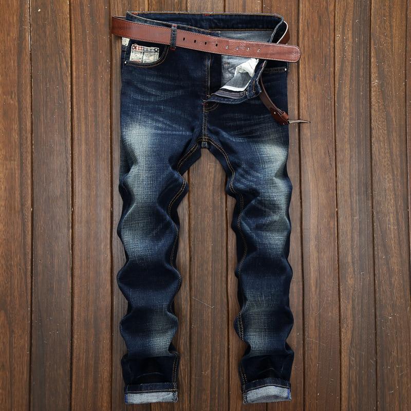 2017 Famous Brand Men Jeans Cotton Deep Blue Slim Straight Jeans Men Pants Masculina Vaqueros Trouse Men Plus Size 28-38Одежда и ак�е��уары<br><br><br>Aliexpress