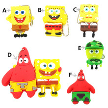 Cartoon Spongebob Patrick star Series Pen Drive USB Flash Drive Creative Gift memory Stick Flash disk Real Cpacity metal chain(China)