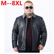 Plus size 10XL 8XL 6XL 5XL 4XL 2017 New leather Jacket men sheepskin mink fur collar wool liner Designer leather coats big size