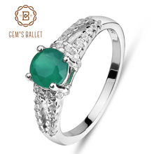 GEM'S BALLET 925 Sterling Silver Green Agate Gemstone Rings Trendy Classic Engagement Fine Jewelry for Women Simple Design(China)