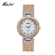 MISSFOX Ladies Watch Fashion Casual Brand Steel Mesh Gold Quartz China Watches Waterproof Simple Chinese Imported Wrist Watch(China)