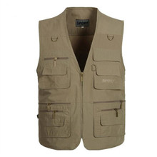 New Free Shipping Men's Khaki Army Vests for Shooting Men Multi-Pocket Photographer Vest Reporter Director Casual Vest XL-5XL