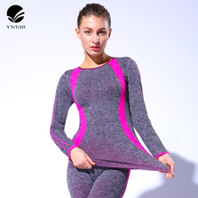 YWBIN brand Yoga tops Gym Compression Women Sport T-shirts Dry Quick Running Short Long Sleeve  Fitness Women Clothes Tees tops