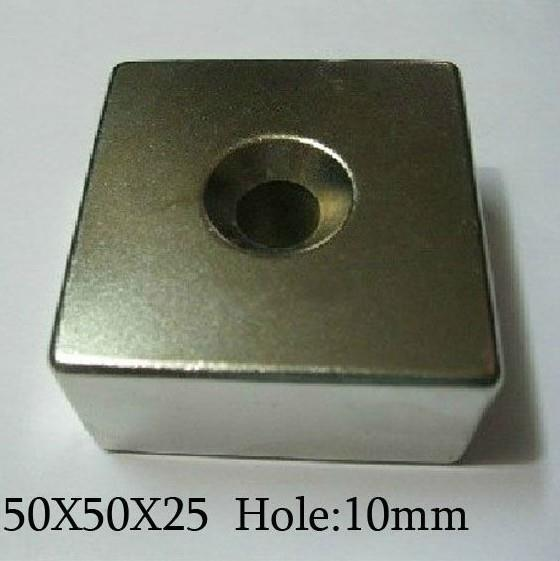 50*50*25 2pcsstrong neodymium magnet Craft Model Rare Earth NdFeB Block Magnet N50 Magnets 50X50X25mm with the hole<br>