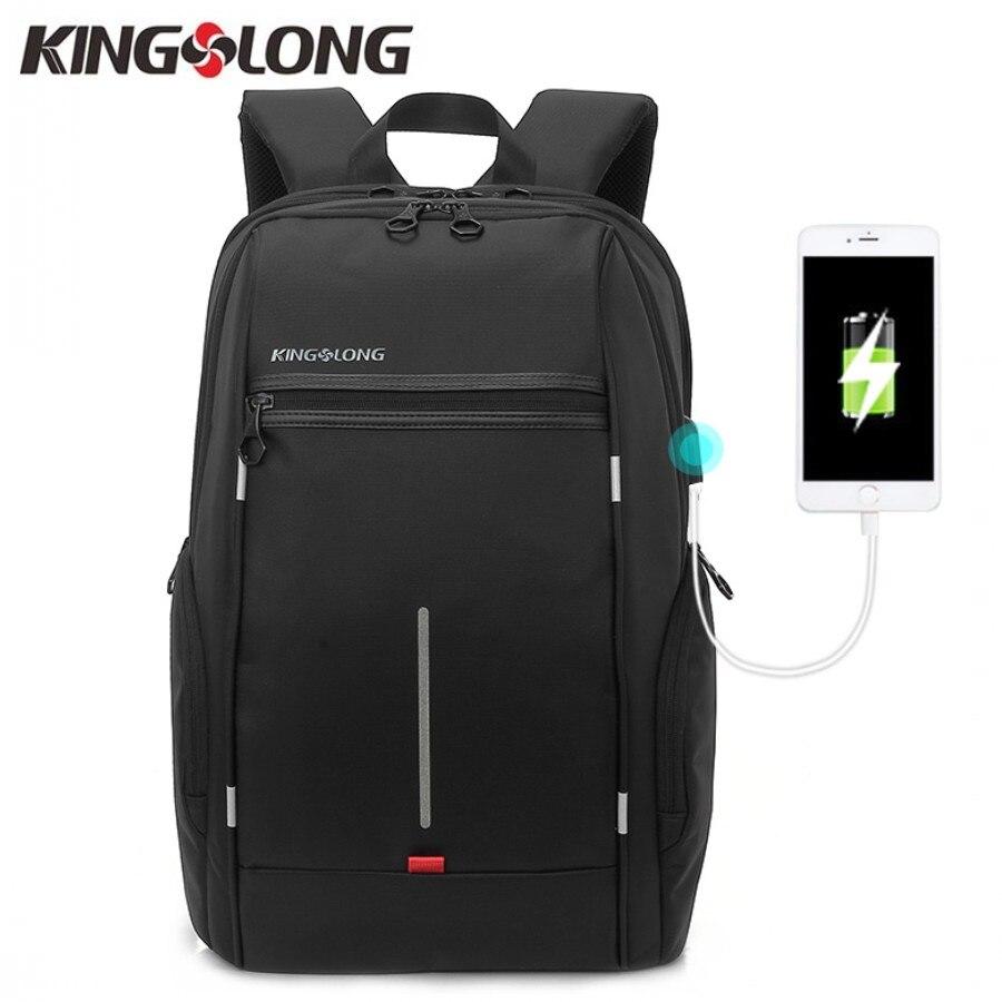 KINGSLONG Men Anti-theft Lock 15.6 Inch Laptop Backpack Oxford External Cool USB Waterproof School Bags Travel Mochila Masculina<br>