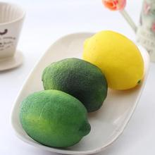 Simulation Lemons Decorative Plastic Solid Artificial Fruit Decorative Fruit Wedding Party Garden Decor Cupboard Home Decor 5(China)