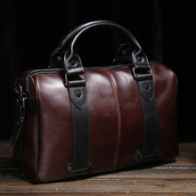 Mens Crazy Horse Leather Shoulder Bags Crossbody Bag Big Tote Handbags Vintage Style Brown Men Bags bolsas male