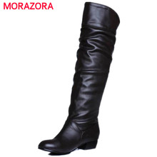 Large size 2017 new arrive Knee high Women Boots Black White Brown flat heels half boots spring autumn shoes woman