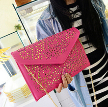 Free shipping 2015 summer new Girls bag Clutch  chain  envelope bag Korean  candy color  hollow handbag Messenger bag  women