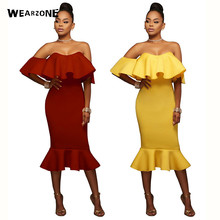 Buy 2017 Sexy Shoulder Sheath Dress Womens Clothing Spring Dresses Women Sexy Dresses Slash Neck Ruffle Bodycon Dress for $14.27 in AliExpress store