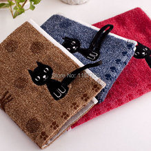 3Pcs A lot 100% Cotton Small Hand Towel 25*50cm Face Towels Embroidery Lovely Cat Kids towel For Wash Gift Free Shipping