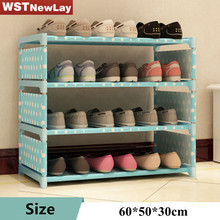 New Shoe Rack 4-6 Layers Of Iron Four Color Storage Footwear Senior Men And Women Dorm Organizer Simple Dust Cover Free Shipping(China)