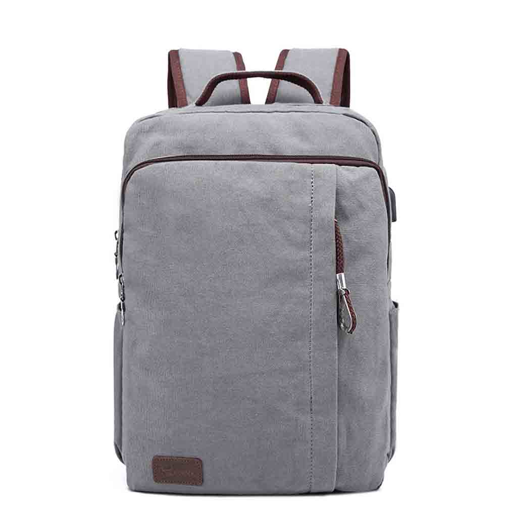 New Arrive Minimalist Men Canvas 14 Inch Laptop Backpack with Charging Port Travel School Bag Rucksack Black Gray Khaki<br><br>Aliexpress