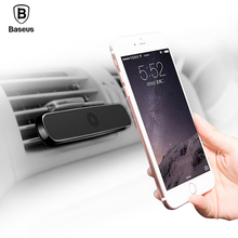 Baseus Simple Magnetic Universal Car Phone Holder Air Vent Mount Stand GPS Bracket Long type holder with spring data Cable