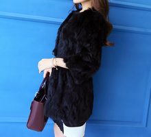 100% Real Rabbit Fur Coat Nature Top Sale Rabbit Fur Jacket Genuine Fur Overcoat Factory Outlet Wholesale OEM Fur KFP932(China)