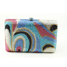 2016 European and American Luxury Handbag Flap Crystal Womens Clutch Multi-color Mini Box Clutch Purse for Evening Party(China)