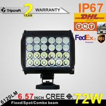 72W quad row led light bar led driving for for Truck led spot lamp12V 24V led headlight suppliers work led light