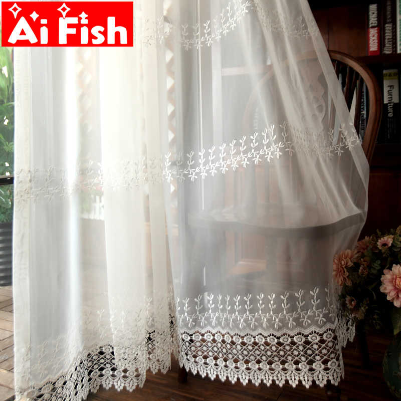 White Embroidered Lace Flowers Bedroom Window Sheer Drapes Romantic Window Screen European Curtain For Living Room DF087#40