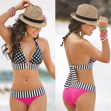 XL Pink Black Dots  Pattern High Waisted Retro Fringe Vintage Bikini Swimsuit Bathing Swim Polkasuper discount Well Sell