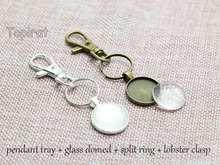20mm Round Pendant Trays, 20mm Round Cabochon Setting, Blank Pendant Setting + Key Split Ring + Clear Glass Cabochon Cover