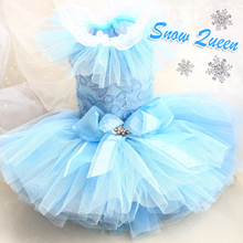 Free shipping Advanced custom snow queen blue twelve layers soft  lace sleeve tulle dog dress puppy evening skirt pet clothing