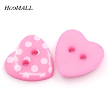 "Hoomall Brand 100PCs Love Heart Shaped Pink Resin Sewing Buttons Scrapbooking Dots Pattern 5/8""x 4/8"""