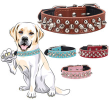 1 inch Wide Soft Leather Spiked Dog Collar Round Bullet Studded Punk Style Doberman Labrador Dog Collar for Small and Middle Dog(China)