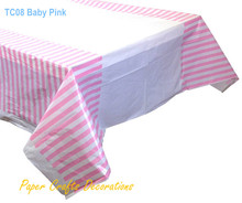 108*180cm Baby Pink Striped Plastic Party Tablecloths Table Cover Decorations Kids Birthday Party Supplies