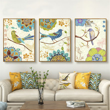 HAOCHU 3Pcs Celebrity Work Wall Art Flower Bird Puzzle Group Canvas Painting Pretty Picture Modern Print Home Sitting Bedside(China)
