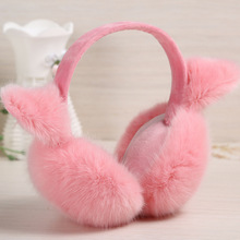 2017 Fashion Elegant Women Ladies Latest Rabbit Fur Earmuffs Warm Ear Cover Women's Ears Lovely Warm Earmuffs(China)