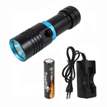 UltraFire L2 Diving Flashlight 1000lm White Light Dive LED Flashlight Torchlight LED Lamp Diving Torch 18650 Battery + Charger